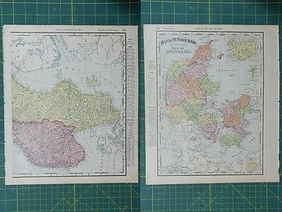Denmark Vintage Original 1895 Rand McNally World Atlas Map Lot