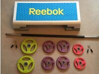 Rubber Body Pump weight set with extra (2x) 2.5kg including a Reebok Step and Matt.