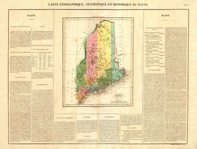 Maine state map. Claimed borders < 1842 Webster-Ashburton Treaty. BUCHON 1825