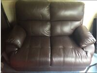 Brown Leather 2 Seater Sofa & Electric Reclining Armchair