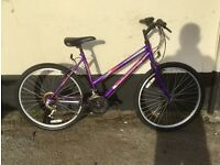 "LADIES PURPLE UNIVERSAL MOUNTAIN BIKE 18"" FRAME £45"
