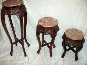 GLASS TABLES MATCHING MAHOGANY West Island Greater Montréal image 5