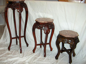 GLASS TABLES MATCHING MAHOGANY West Island Greater Montréal image 6