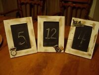 chalkboard whitewash framed Table Numbers