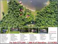 3.9 Acres, 4 Cottages, Boat House and 1,000 Feet Beach Shoreline
