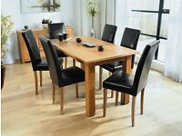 Brand New Solid Oak Dining Table Set with 4 or 6 Leather Foam Cushioned Chairs