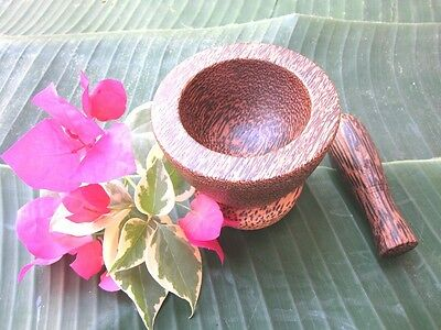 MORTAR AND PESTLE THAI PALM WOOD HANDCRAFT ...