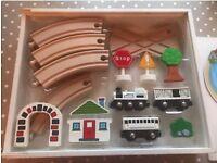 Little white company wooden train set