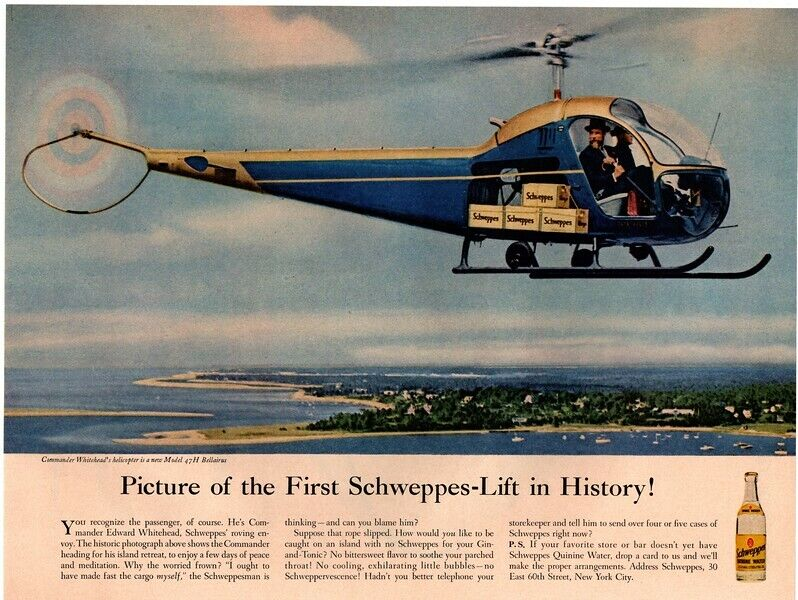 1956 SCHWEPPES Quinine Water - Schewppes Lift - 47H BELLAIRUS  VINTAGE AD