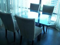 glass table, chairs