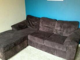 Chocolate brown corner sofa