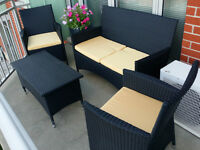 Sonax 4 piece Patio Furniture Set Chairs Sofa Coffee Table NEW