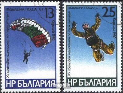 Bulgarije 2914-2915 gestempeld 1980 WM in Parachutespringen