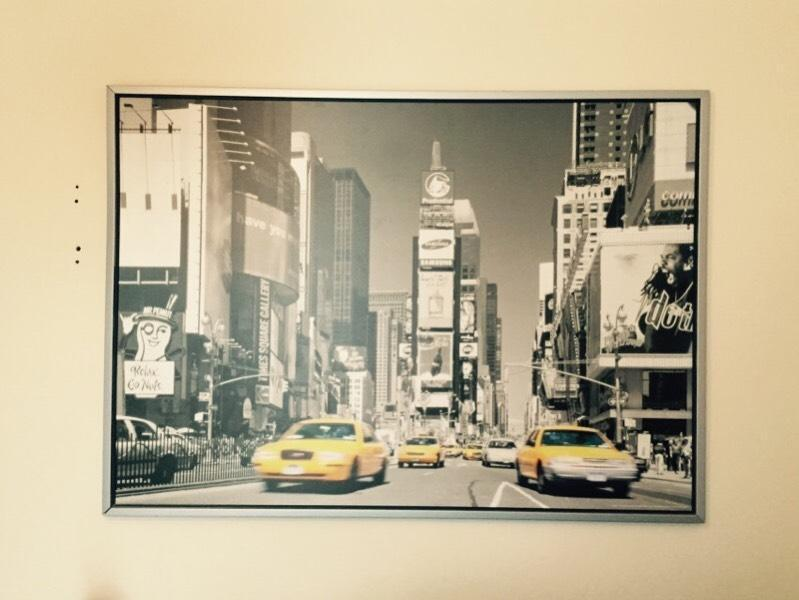 large ikea canvas print picture of new york taxis in horfield bristol gumtree. Black Bedroom Furniture Sets. Home Design Ideas