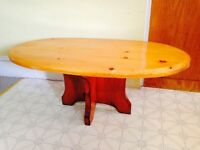 """Lovely Hand Crafted Pine Coffee Table. 1.5"""" Thick Top"""
