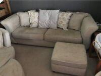 DFS 3 seater sofa plus storage foot stool
