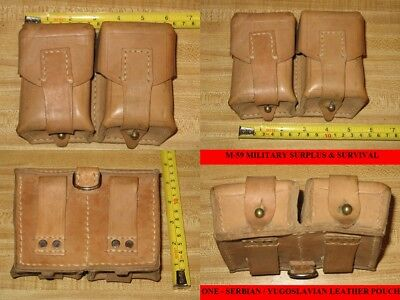 ONE - SERBIAN / YUGOSLAVIAN COLD WAR ERA LEATHER AMMO POUCH - NEW OLD STOCK
