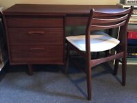 Teak desk and chair