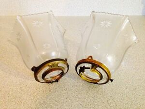 Pair of Small Antique Glass Shades