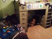 Twin Bunk bed with desk, drawers & shelving