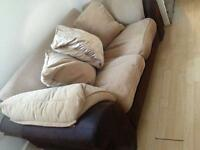 Beige and Brown Two Seater Sofa