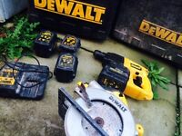 Dewalt cordless 24v rip snorter + cordless 24v SDS Drill with 4 batteries and charger