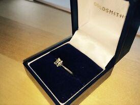Exclusive to Goldsmiths- Platinum Emerald Cut Diamond Ring