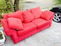 Red 3 seater lounge