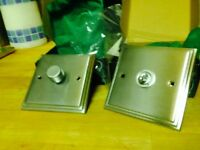 Dimmer & Toggle switches in brushed aluminium