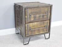 Industrial Mango Wood and Steel Side Table (new)