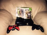 XBOX 360 slim 250GB with 11 games and 2 controllers