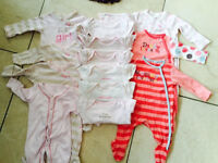 Bundle of baby girls vests and sleepsuits 0-3 months