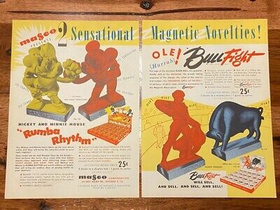 Vintage 1946 MASCO Mickey Minnie Mouse Magnetic Bullfight Artist Book ORG Toy Ad