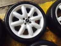 "17"" GENUINE MINI COPPER S ALLOY WHEELS SET OF 4 WITH TYRE S"