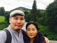 Young Mongolian couple looking for an accommodation near Glasgow city centre