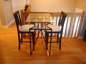 2 Person Bar Height Glass Table w Chairs