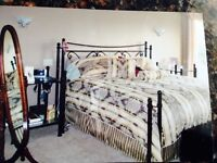 Solid Iron Bed and Glass and Iron Night stands