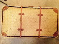 Vintage Thatched Suitcase