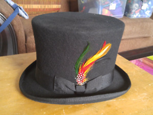 This is a NEW, black top hat with feather. 100% wool, designed i
