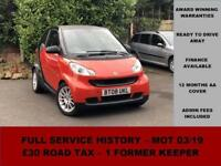 2008 Smart ForTwo Coupe Pure 71bhp, RED, PETROL, SEMI AUTOMATIC, ALLOY WHEELS
