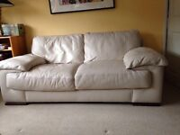 Large Cream Leather 2 Seater Sofa