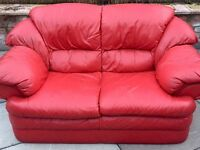 2 seater red leather sofa £30