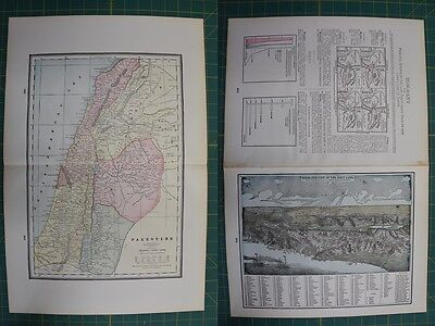 Palestine Vintage Original 1895 Werner Company World Atlas Map Lot