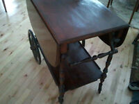 Antique Walnut Tea Trolley Cart