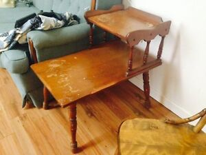 Pair of Solid Maple Vintage End Tables