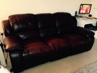 Harveys 3 seater Leather manual recliner!