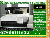 TARA Single, Double And King Size Bed Memorey Fooam Bed Frame And Mattresses