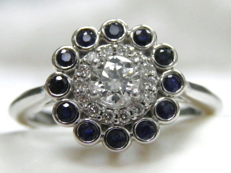 DOUBLE HALO SOLID 14KT WG GENUINE GIA CERTIFIED DIAMOND SAPPHIRE ENGAGEMENT RING