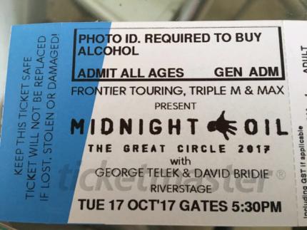 Midnight Oil 17 Oct Riverstage