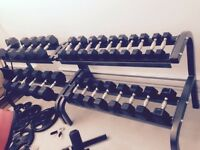 875 pounds of rubber Dumbbells and 2 racks
